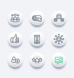 likes followers hearts rating icons set vector image