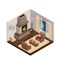 lounge isometric interior with fireplace vector image