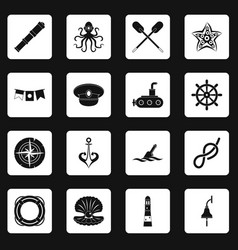 nautical icons set squares vector image vector image