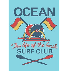 Ocean Surf Club equipment vector image