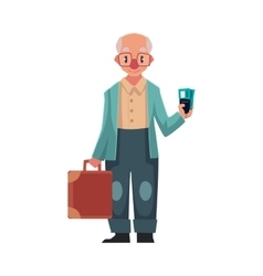 Old senior man in retro glasses holding suitcase vector