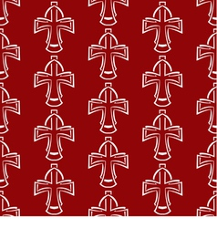 Seamless background white cross on a red vector