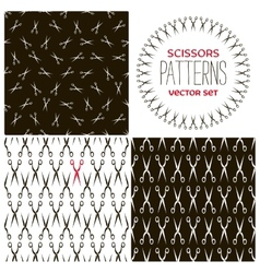 Set of monochrome scissors backgrounds vector image vector image