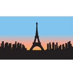 silhouette of eiffel tower cityscape vector image