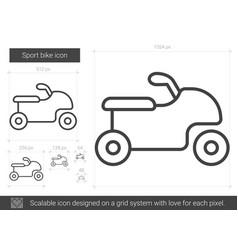 sport bike line icon vector image vector image