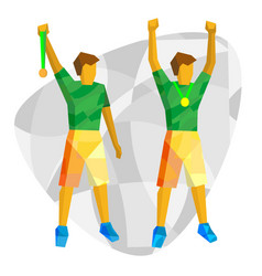 sport champions - two athletes showing medals vector image vector image