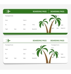 Tickets leaves boarding pass vector