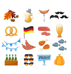 traditional symbols of the oktoberfest icons set vector image vector image