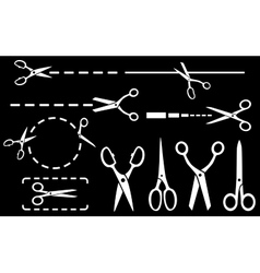 white scissors set with dotted line on black vector image vector image