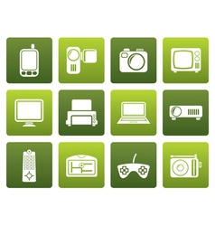 Flat hi-tech technical equipment icons vector