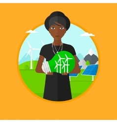 Woman holding lightbulb with wind turbines inside vector image