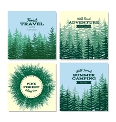 Lumber style poster cards nature wild pine forest vector