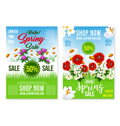 Spring holiday sale posters web templates vector
