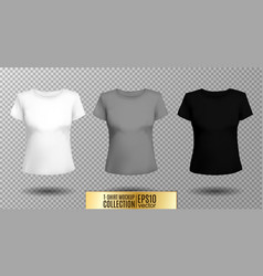 t-shirt template set for men and women realistic vector image