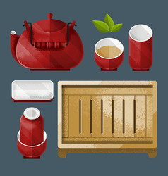 Traditional chinese tea utensil set vector