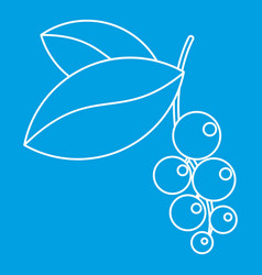 Currant branch with leaves icon outline style vector