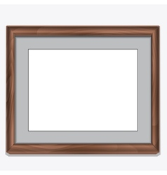 Wood photo frame isolated on white vector image