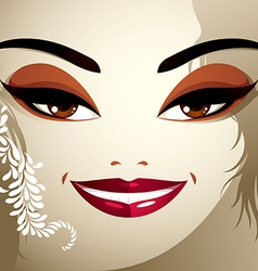 Cosmetology theme image young pretty lady with vector