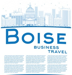Outline boise skyline with blue building vector