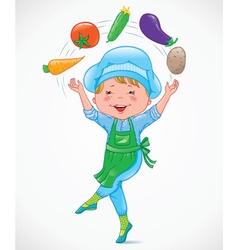 Baby cook juggles vegetables vector