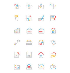 Real estate colored line icons 2 vector