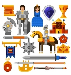Flat knight icons set vector