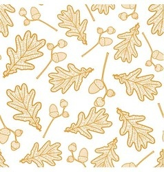 Seamless pattern of branches with acorns vector