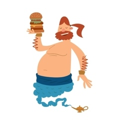 Cartoon fat boy gin with large hamburger coming vector