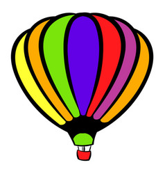 bright air balloon icon icon cartoon vector image vector image