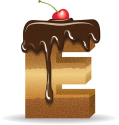 Cake letter E- birthday font vector image vector image