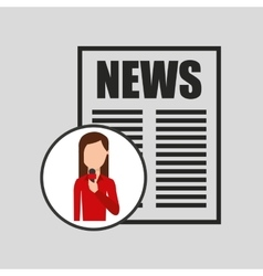 Character woman reporter news headline microphone vector