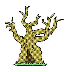 Comic cartoon spooky old tree vector