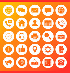 contact us solid circle icons vector image vector image