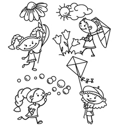 cute summer girl characters vector image vector image