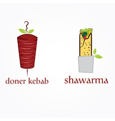 Doner kebab and shawarma vector