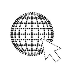 Earth globe with cursor black dashed icon vector