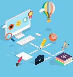 Flat 3d isometric concept of online education vector image vector image