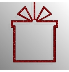 Frame red sequins gift box gift surprise vector