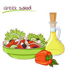 Greek salad and oil vector