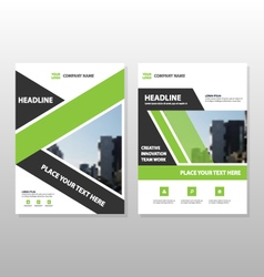 Green annual report leaflet brochure templates set vector