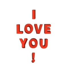 I love you 3d red lettering on white vector
