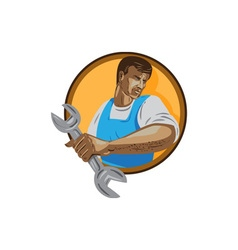 Mechanic worker holding spanner circle wpa vector