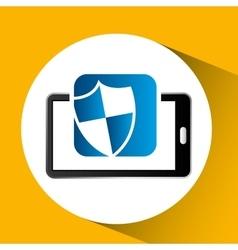 Mobile phone icon shield protection social media vector
