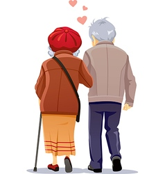 Old couple in love walking together vector