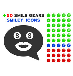 Prostitute smiley message icon with bonus facial vector