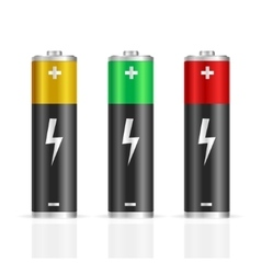 Realistic Colorful Battery Set vector image