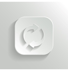 Refresh icon - white app button vector image vector image
