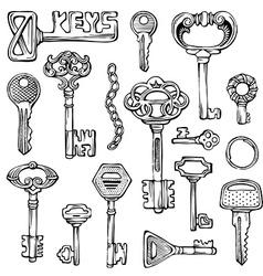 Set of vintage keys vector image