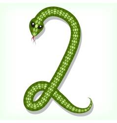 Snake font Digit 2 vector image