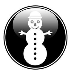 Snowman symbol button vector image